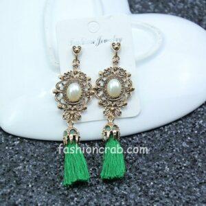 Green Thread Tassel Earrings for Women