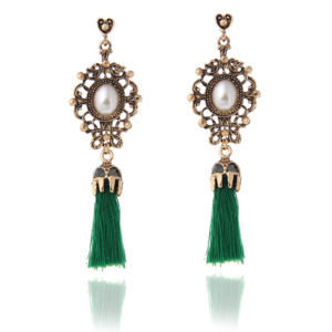 Green Thread Tassel Earrings for Women
