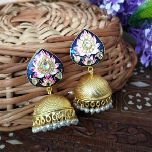 Indian Traditional Blue Meena Jhumki Jhumka Earrings