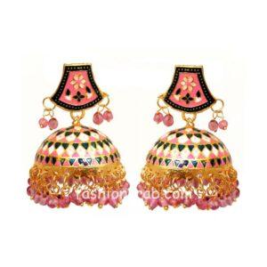 Pink Meenakari Jhumka Earring for Women