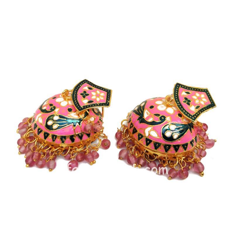 Pink Meenakari Peacock Jhumki Earring
