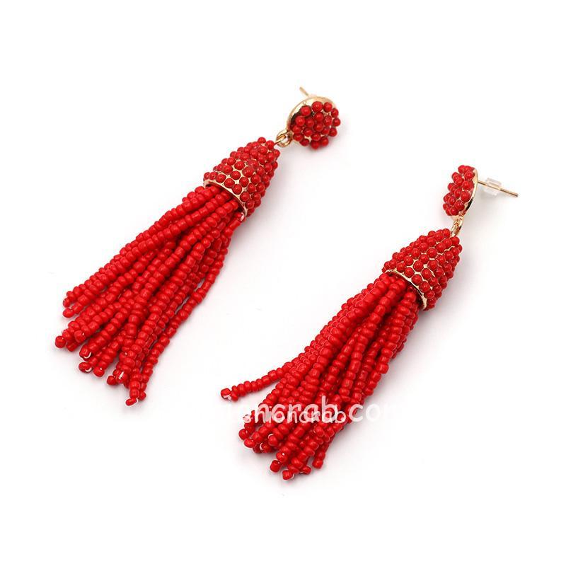 Red Beads Handmade Tassel Earring