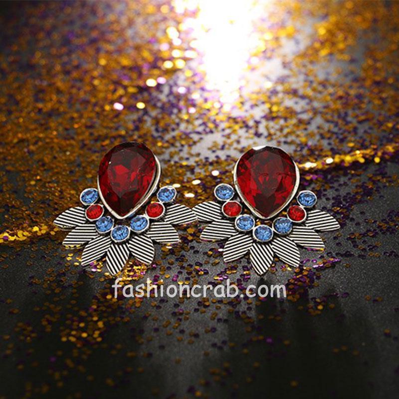 Red Crystal Rhinestone Stud Earring