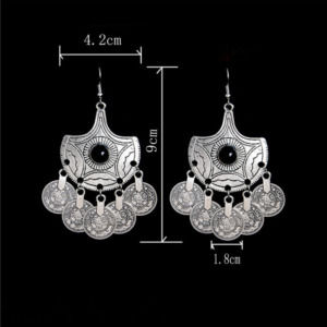 Silver Color Coin Dangle Earring