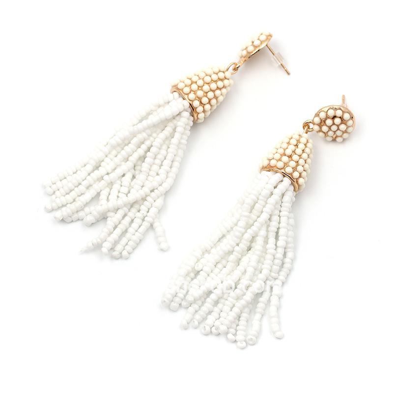 White Beads Handmade Tassel Earring