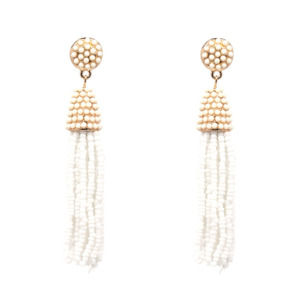 White Beads Handmade Tassel Earring