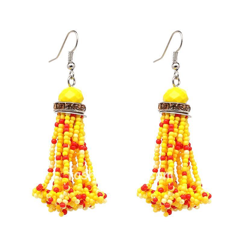 Yellow Red Beads Drop Earring for Women