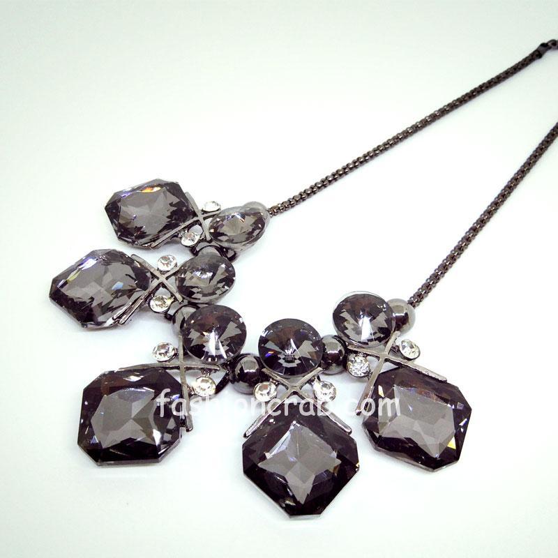 Black Crystal Statement Necklace