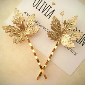 Golden Color Leaf Hair Pin for Women