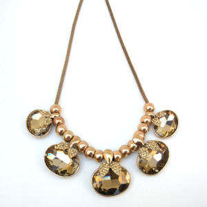 Golden Crystal Party Necklace