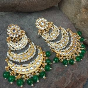 Green Pearl Layered Chandbali Earring for Wedding