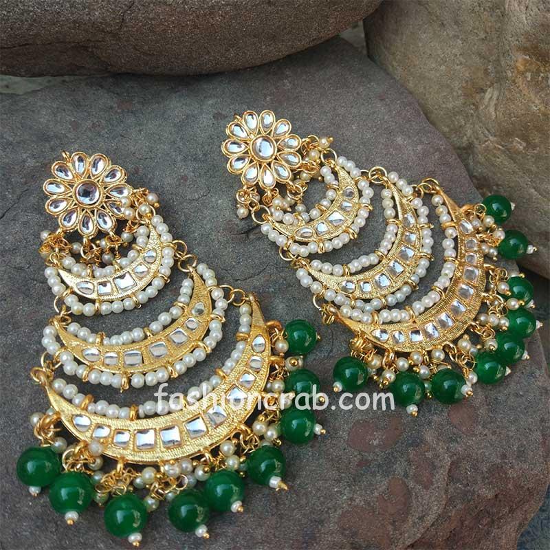 Green Pearl Layered Chandbali Earring for Wedding