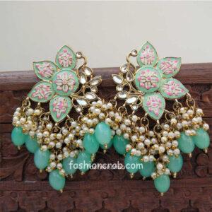 Mint Green Enamel Pearl Embellished Chandbali Earring