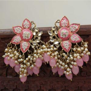 Pink Enamel Pearl Embellished Chandbali Earring
