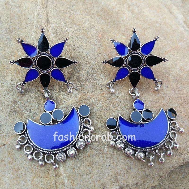 Blue Black Afghani Drop Earring