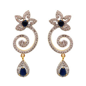 Blue Partywear American Diamond Earring