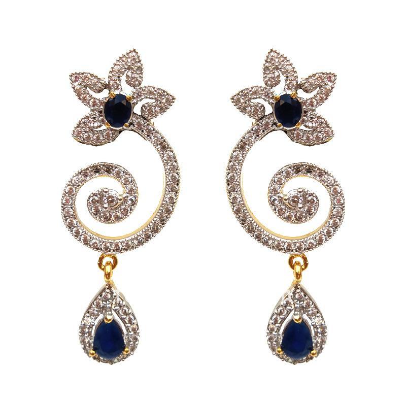 Blue Partywear American Diamond Earring