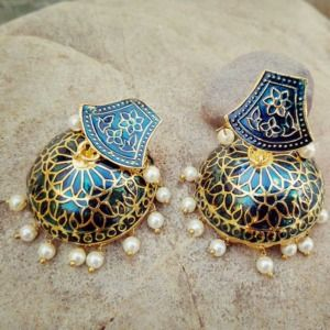 Dark Blue Meenakari Traditional Jhumki Earring