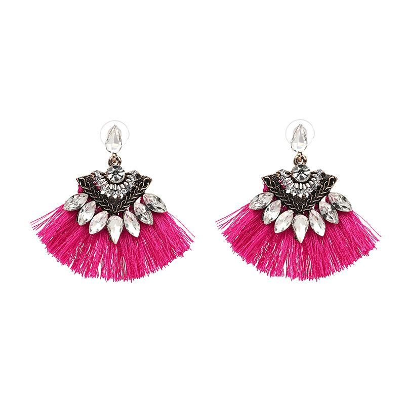 Dark Pink Tassel Earring