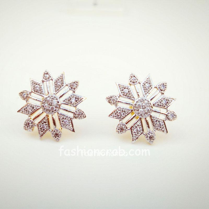 Flower Shaped American Diamond Stud Earring