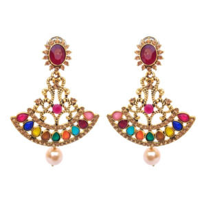 Multicolor Antique Earrings With Pearl