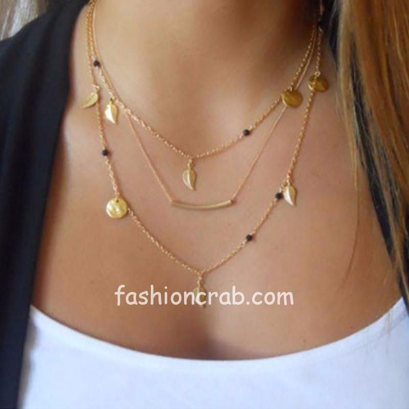 Multilayered Golden Chain Necklace with Black Beads