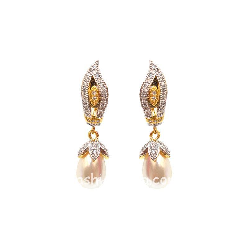 Two Tone Pearl Drop AD Earring
