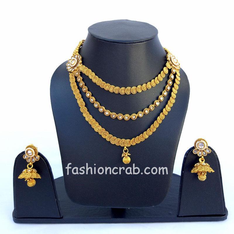 3 Layered Golden Bridal Necklace Set