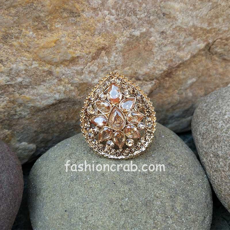 Adjustable Bridal Polki Ring