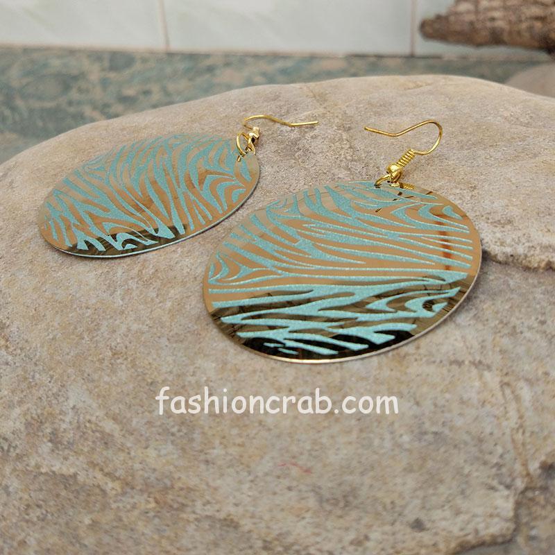 Blue Floral Print Earring for Girls