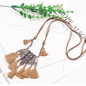 Brown Tassel with Leather Chain Necklace