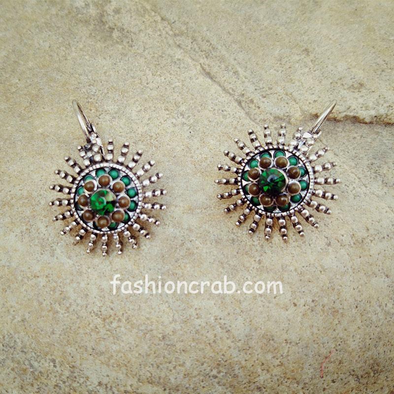 Green Ethnic Stud Earring