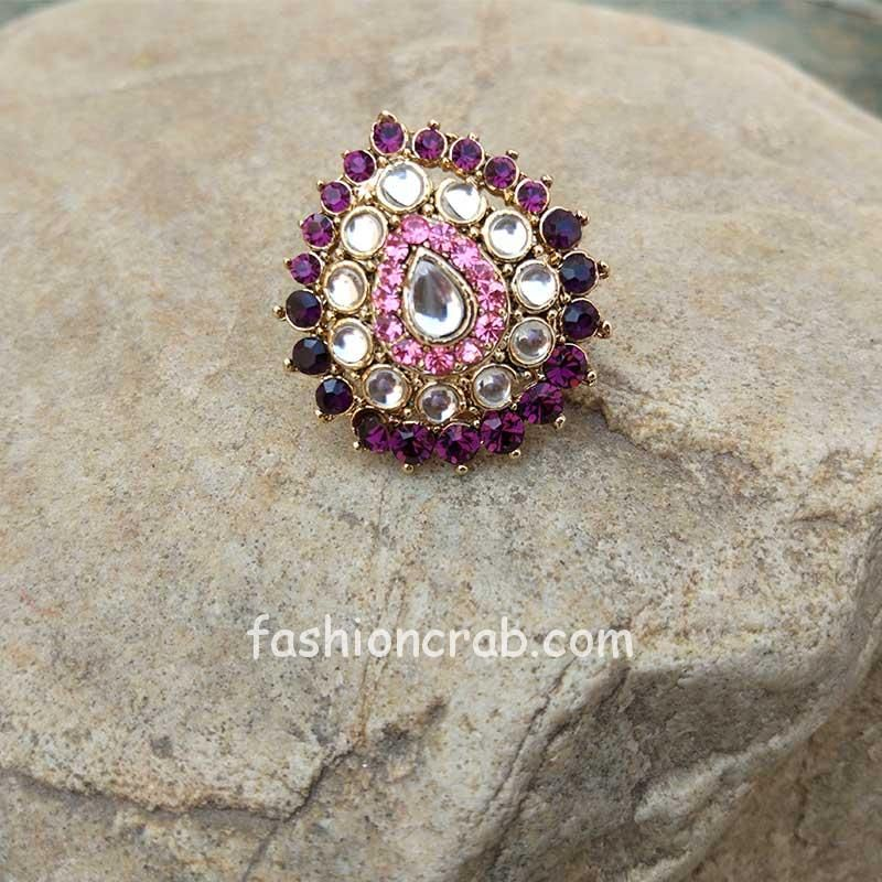 Multicolor Pink Crystal Ring for Ladies