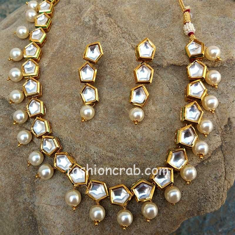 One String Kundan Pearl Necklace Set