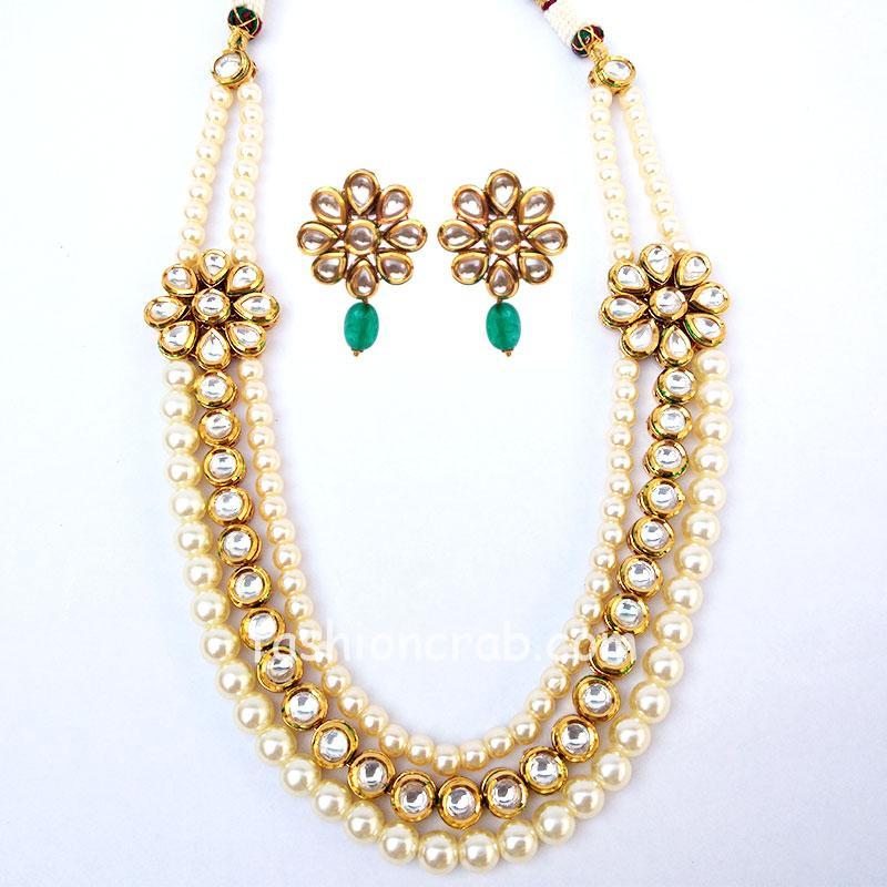 Pearl kundan Necklace Set