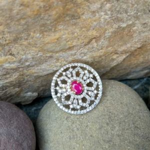 Pink Crystal Stone American Diamond Ring