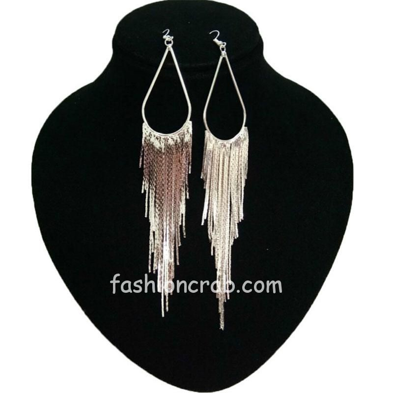 Silver Long Tassel Drop Earring for Women