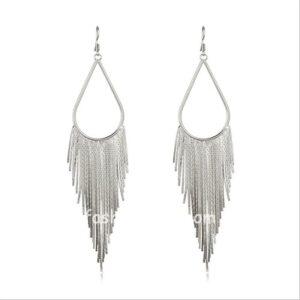 Silver Long Tassel Drop Earring for Women