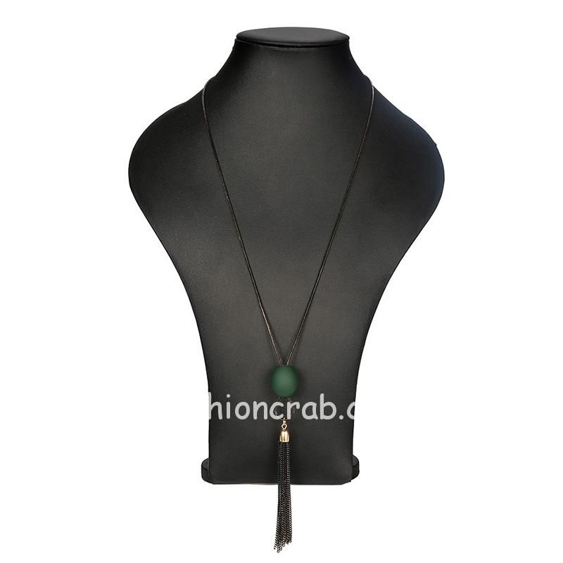Vintage Necklace with Green Pendant Chain for Women