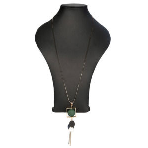 Fashion Necklace with Green Pendant Wood Beads