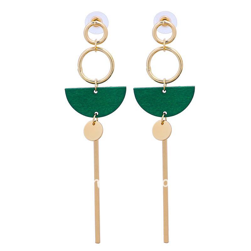 Green Wood Long Drop Earring
