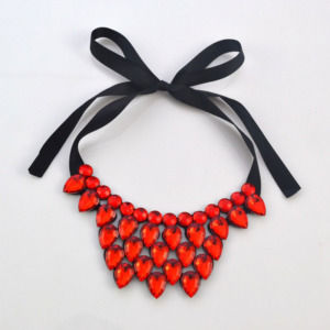 Red Resin Statement Necklace for Women