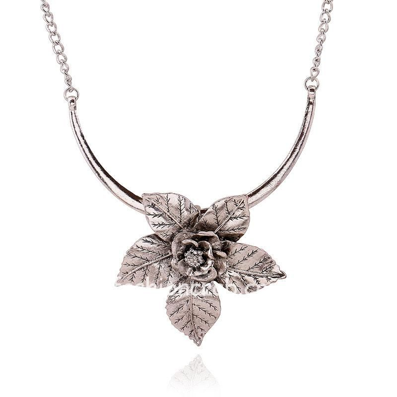 Silver Color Flower Choker Necklace for Girls