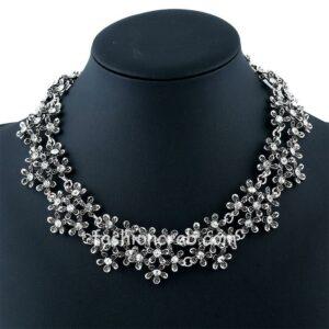 Vintage Silver Color Rhinestone Necklace