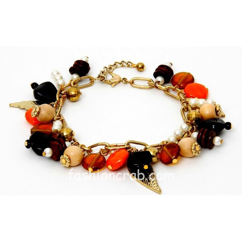 Black and Orange Charm Bracelet for Women
