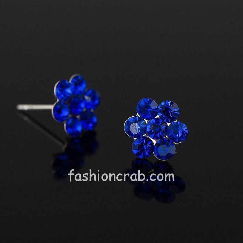 Blue Crystal Flower Stud Earring for Women