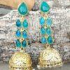 Blue Stone Long Drop Wedding Earring