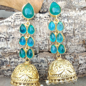 Blue Stone Long Drop Wedding Earring
