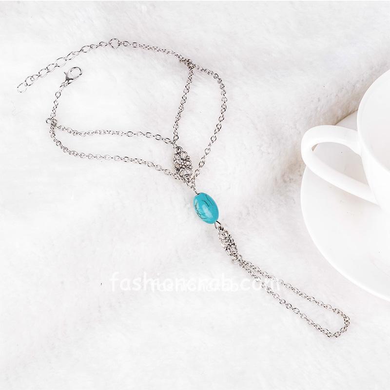 Blue Stone Multi Chain Finger Bracelet
