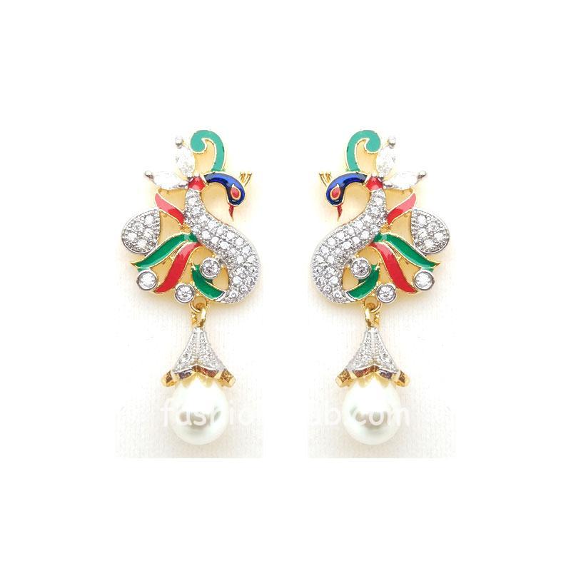Designer Multicolor Peacock Pearl Earring